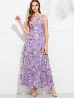 Romantic A Line and Tank Floral Boat Neck Sleeveless High Waist Purple Maxi Length All Over Flower Embroidered Mesh Overlay Dress