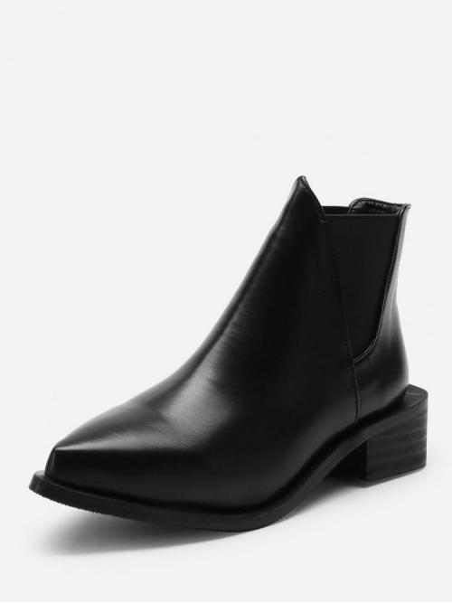 Discount Polyester Black Chelsea Boots Cut out Block Heeled Chelsea Boots