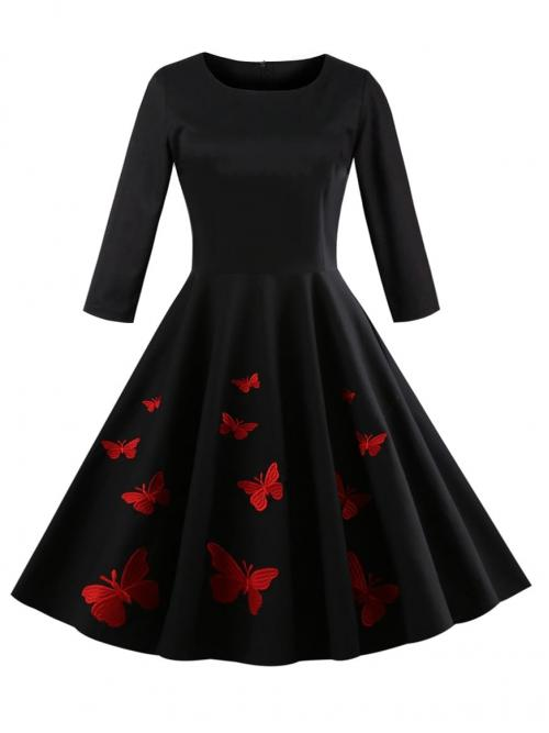 Vintage A Line Animal Ball Gown Regular Fit Round Neck Three Quarter Length Sleeve Natural Black Midi Length 50s Butterfly Print Circle Dress