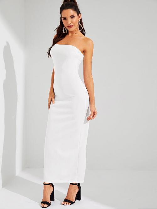 Sexy Plain Sleeveless Natural White Long Length Split Back Tube Dress