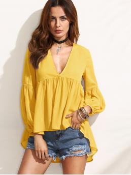 Sexy Plain Asymmetrical Top Regular Fit Deep V Neck Long Sleeve Bishop Sleeve Pullovers Yellow Regular Length Lantern Sleeve Asymmetrical Hem Solid Blouse