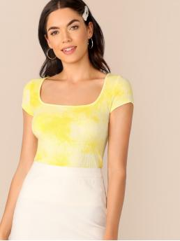 Casual Tie Dye Slim Fit Square Neck Cap Sleeve Pullovers Yellow Regular Length Tie Dye Rib-knit Tee