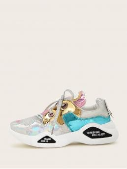 Comfort Round Toe Letter Multicolor Color Block Iridescent Chunky Sole Trainers