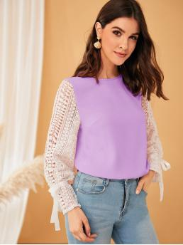 Elegant Top Regular Fit Round Neck Long Sleeve Flounce Sleeve Pullovers Purple Regular Length Guipure Lace Sleeve Knotted Keyhole Back Top