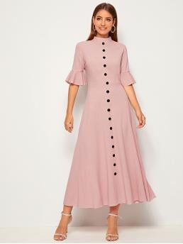 Elegant A Line Plain Flared Regular Fit Stand Collar Half Sleeve High Waist Pink and Pastel Long Length Button Front Flounce Sleeve Dress