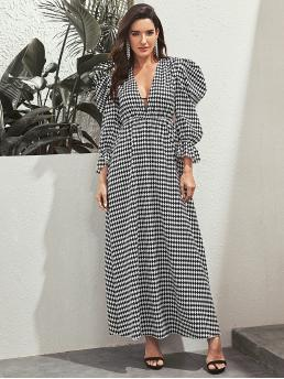 Boho and Glamorous A Line Geometric Straight Regular Fit Deep V Neck Long Sleeve High Waist Black and White Maxi Length Argyle Plunge Neck Puff Sleeve Dress