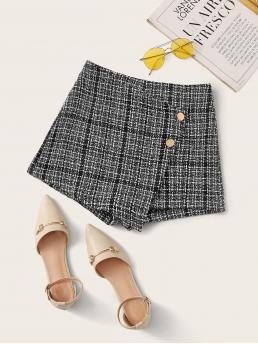 Casual Plaid Culottes Regular Zipper Fly Mid Waist Black and White Button Detail Tweed Skort