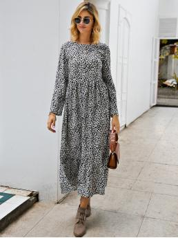 Casual Smock Graphic Flounce Regular Fit Round Neck Long Sleeve Regular Sleeve High Waist Black and White Long Length Dalmatian Print Ruffle Hem Smock Dress