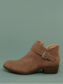 Comfort Other Plain Side zipper Camel Low Heel Chunky Almond Toe Buckle Detail Chunky Heel Booties