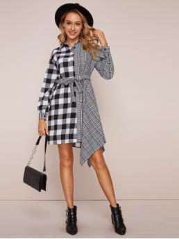 Casual Shirt Plaid and Gingham Asymmetrical Regular Fit Collar Long Sleeve Regular Sleeve High Waist Black and White Short Length Two Tone Plaid Belted Shirt Dress with Belt