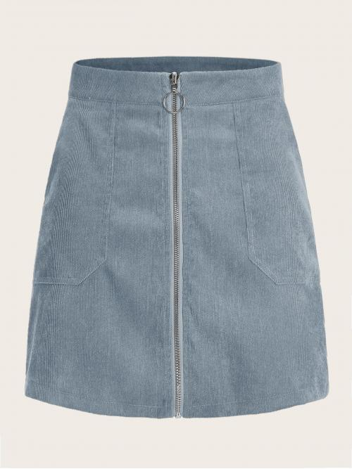 Casual A Line Plain High Waist Blue and Pastel Mini Length O-ring Zip Up Pocket Side Corduroy Skirt