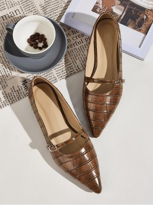 Comfort Crocodile Brown Croc Embossed Point Toe Flats