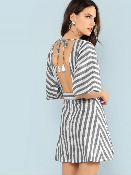 Clearance Grey Striped Fringe Deep V Neck Plunging Button Front Dress
