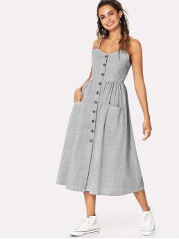 Casual Cami Striped Flared Loose Spaghetti Strap Sleeveless Natural Grey Long Length Button Front Cami Dress