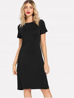 Shopping Black Plain Pocket Boat Neck Skinny Solid Dress