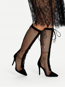 Cheap Polyester Black Chelsea Boots Cut out Fishnet Knee High Boots