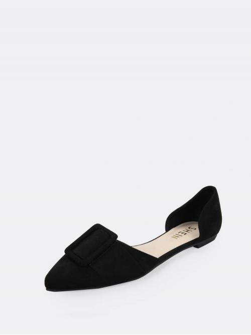 Cheap Corduroy Black Ballet Spiked Buckle Accented Dorsay Flats