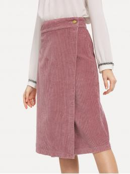 Shopping Pink Natural Waist Button Wrap Corduroy