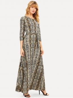 Modest A Line Animal Straight Regular Fit Round Neck Three Quarter Length Sleeve Natural Multicolor Maxi Length Snakeskin Print Self Tie Maxi Dress with Belt