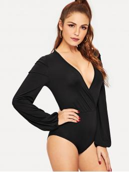 Sexy Plain Skinny Deep V Neck Long Sleeve Bishop Sleeve Mid Waist Black Surplice Neck Slim Fitted Bodysuit