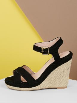 Boho Peep Toe Plain Platform Criss Cross and Ankle Strap Black High Heel Espadrille Open Cross Front Ankle Strap Jute Wedge Sandals