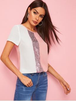 Casual Colorblock Top Regular Fit Round Neck Short Sleeve Regular Sleeve Pullovers Pink Regular Length Sequin Patched Colorblock Top