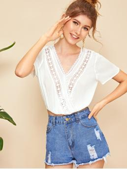 Boho Plain Wrap Top Regular Fit V neck Short Sleeve Regular Sleeve Pullovers White Crop Length Guipure Lace Trim Crinkle Crop Wrap Top