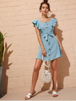 Casual Fitted Plain Regular Fit Square Neck Cap Sleeve High Waist Blue Short Length Tie & Button Front Butterfly Sleeve Dress