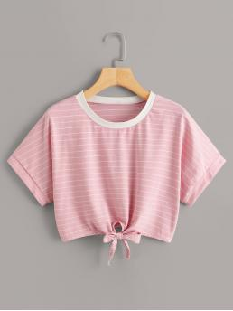 Casual Striped Regular Fit Round Neck Short Sleeve Pullovers Pink Crop Length Striped Knot Hem Crop Tee