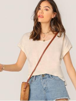Casual Plain Regular Fit Round Neck Short Sleeve Roll Up Sleeve Pullovers Beige Regular Length Scoop Neck Cuffed Sleeve Slub Knit Raw Hem T-Shirt
