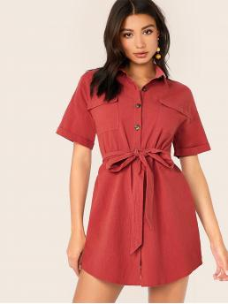 Casual Shirt Plain Straight Loose Collar Short Sleeve Roll Up Sleeve Natural Red Short Length Collared Flap Pocket Patched Self Belted Shirt Dress with Belt