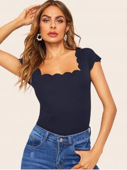 Elegant Plain Slim Fit Square Neck Cap Sleeve Pullovers Navy Regular Length Scallop Trim Form Fitted Top