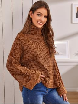 Casual Plain Slit Pullovers Oversized Funnel Neck Long Sleeve Regular Sleeve Pullovers Brown Regular Length Rolled Neck and Cuff Waffle Knit Sweater