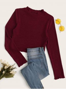 Elegant Plain Slim Fit Stand Collar Long Sleeve Regular Sleeve Pullovers Burgundy Crop Length Lettuce Edge Rib-knit Tee