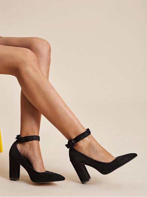 Glamorous Ankle strap Black High Heel Chunky Point Toe Ankle Strap Stiletto Heels