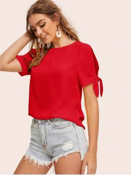 Casual Plain Top Regular Fit Round Neck Short Sleeve Pullovers Red and Bright Regular Length Knot Cuff Split Sleeve Solid Top