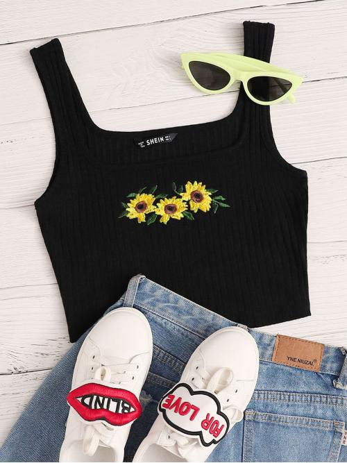 Boho Tank Floral Slim Fit Square Neck Black Crop Length Sunflower Embroidery Rib-knit Crop Tank Top
