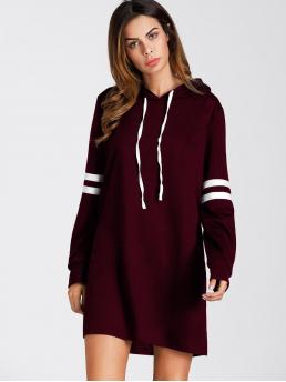 Sporty Dress Striped Oversized Hooded Long Sleeve Burgundy Longline Length Varsity Striped Hooded Sweatshirt Dress
