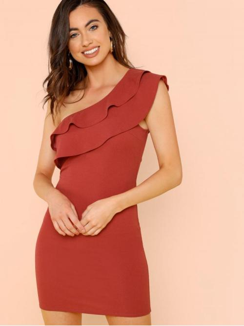Women's Rusty Rose Plain Tiered Layer One Shoulder Tiered Ruffle Fitting Dress