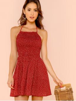Glamorous Cami Polka Dot Flared Regular Fit Halter Sleeveless Natural Red Short Length Shirred Bodice Polka Dot Halterneck Dress