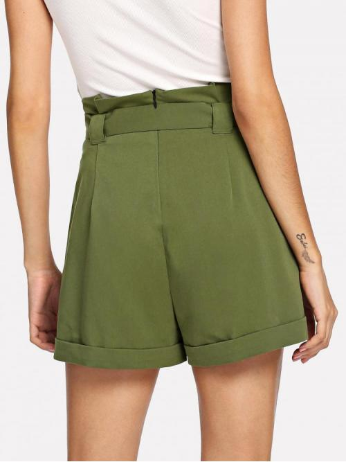 Army Green Natural Waist Pocket Wide Leg Double Button Pleated Shorts Affordable