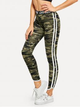 Sporty Camo Multicolor Long Length Lettering Waistband Camouflage Leggings