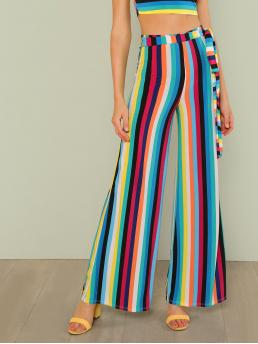 Boho Striped Wide Leg Loose Elastic Waist Mid Waist Multicolor Long Length Striped Wide Leg Pants with Belt with Belt
