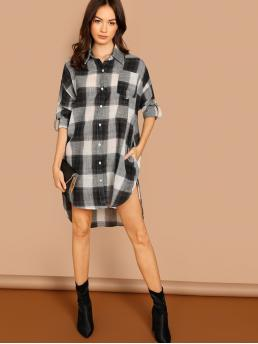 Casual Shirt Gingham Asymmetrical Loose Collar Long Sleeve Roll Up Sleeve Natural Black and White Short Length Roll Tab Sleeve High Low Plaid Shirt Dress