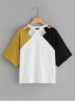 Casual Colorblock Regular Fit Round Neck Half Sleeve Raglan Sleeve Pullovers Multicolor Regular Length Cut Out Front Cut and Sew Tee