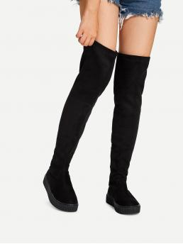 Sock Boots Round Toe Side zipper Black Over The Knee Boots