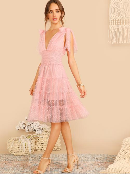 Romantic A Line Plain Flounce Regular Fit Deep V Neck Sleeveless Natural Pink and Pastel Midi Length Shoulder Knot Plunging Neck Mesh Dress with Lining