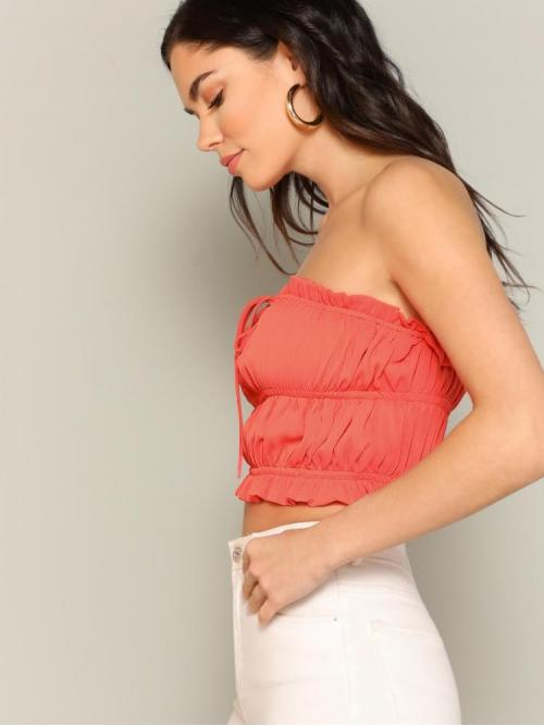 Long Sleeve Cami Tie Front Polyester Frill Trim Bandeau Top on Sale