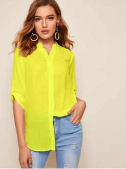 Casual Plain Asymmetrical Shirt Regular Fit Stand Collar Three Quarter Length Sleeve Roll Up Sleeve Placket Yellow and Bright Longline Length Neon Yellow Tab Sleeve Shirt
