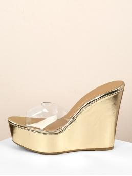 Boho Peep Toe Platform Gold High Heel Transparent Band Metallic Platform Wedge Sandals